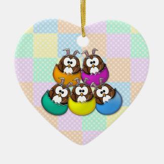 Easter owl - rainbow ceramic ornament