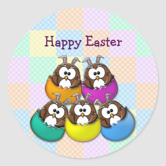 Easter owl - rainbow classic round sticker
