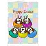 Easter owl - rainbow greeting card