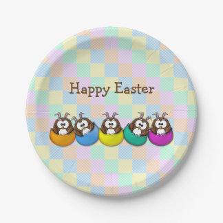 Easter owl - rainbow paper plate