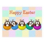 Easter owl - rainbow postcard