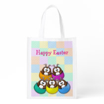Easter owl - rainbow reusable grocery bag