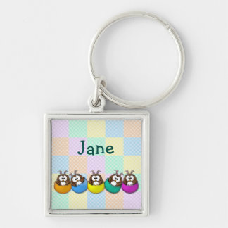 Easter owl - rainbow Silver-Colored square keychain