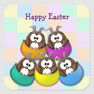Easter owl - rainbow square sticker