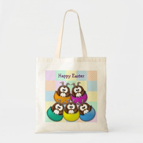 Easter owl - rainbow tote bag