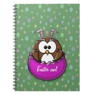 Easter owl spiral notebook
