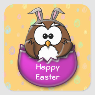 Easter owl square sticker