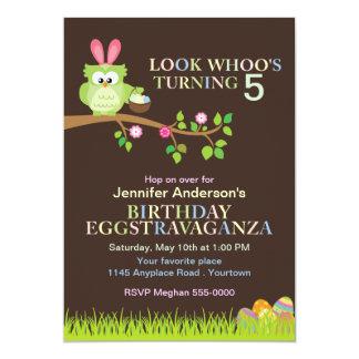 "Easter Owl with Bunny Ears Birthday Invitation 5"" X 7"" Invitation Card"