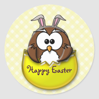 Easter owl - yellow classic round sticker