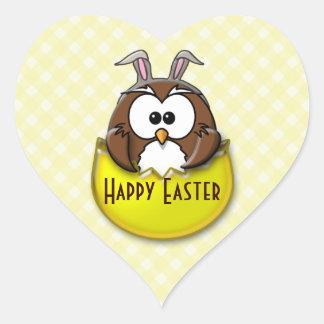 Easter owl - yellow heart sticker