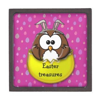 Easter owl - yellow jewelry box