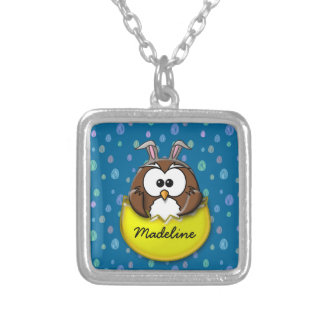 Easter owl - yellow silver plated necklace