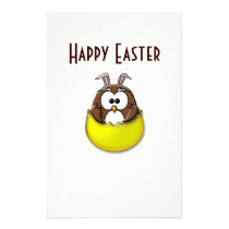 Easter owl - yellow stationery
