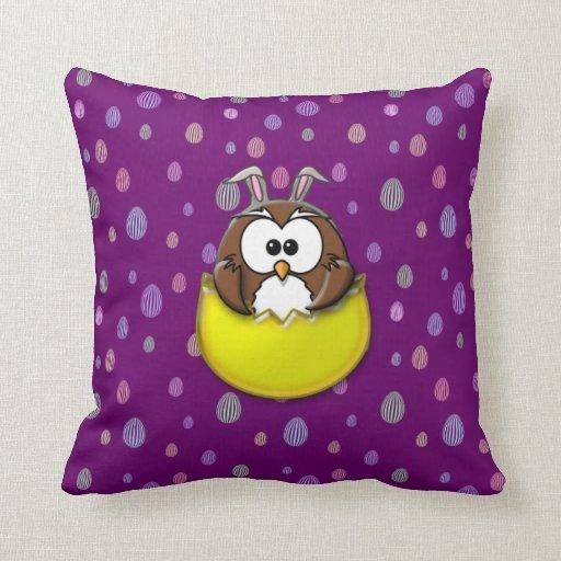 Easter owl - yellow throw pillows