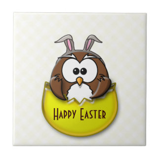 Easter owl - yellow tile