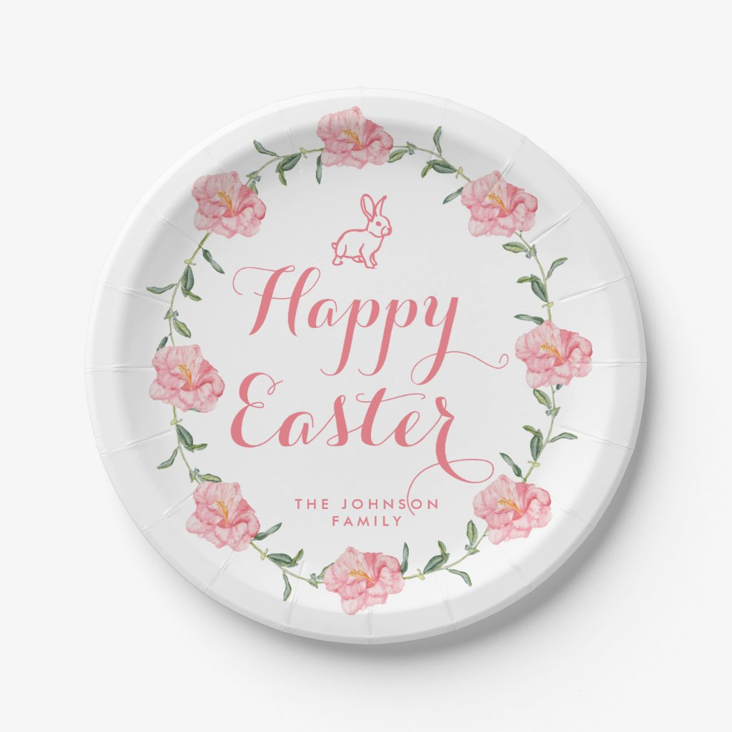 Easter Paper Plates Pink Bunny And Wreath