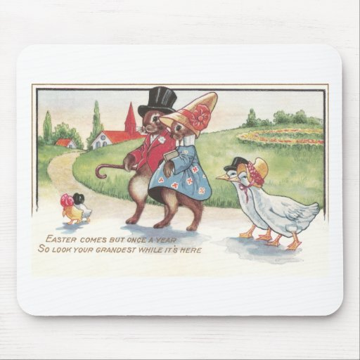 Easter Parade of Rabbits and Ducks Mouse Pad