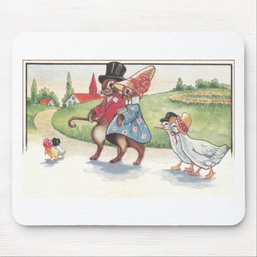 Easter Parade of Rabbits and Ducks Mouse Pads