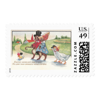 Easter Parade of Rabbits and Ducks Postage