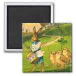 Easter Parade With Rabbit and Chicks 2 Inch Square Magnet