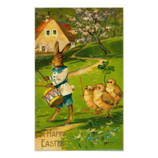 Easter Parade With Rabbit & Chicks Vintage Poster