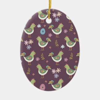 Easter Pattern Ceramic Ornament