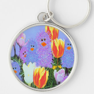 Easter Peeps Silver-Colored Round Keychain