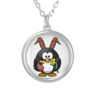 Easter Penguin Round Pendant Necklace