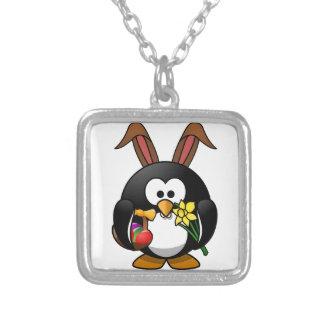 Easter Penguin Square Pendant Necklace