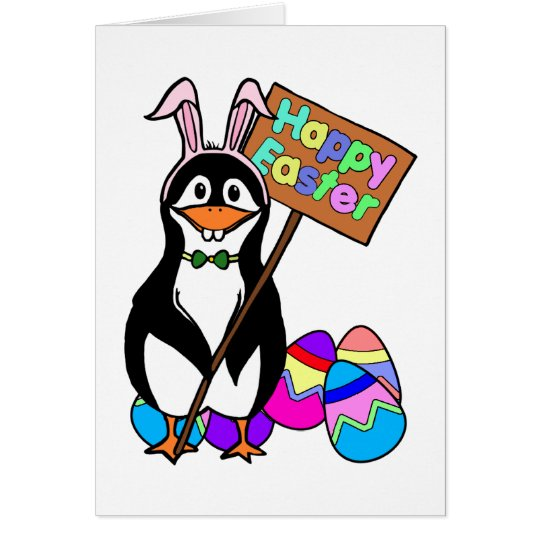 Easter Penguin with Colored Eggs Card