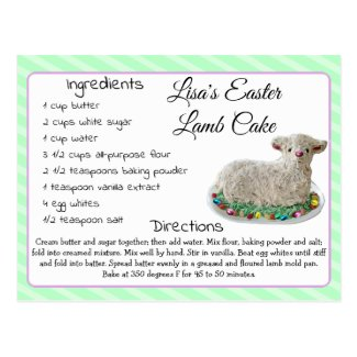 Easter Personalized Lamb Cake Recipe Postcard