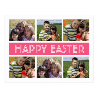 Easter Personalized Photo Collage Postcard Pink