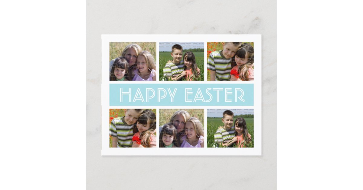 easter photo collage postcard template blue zazzle com