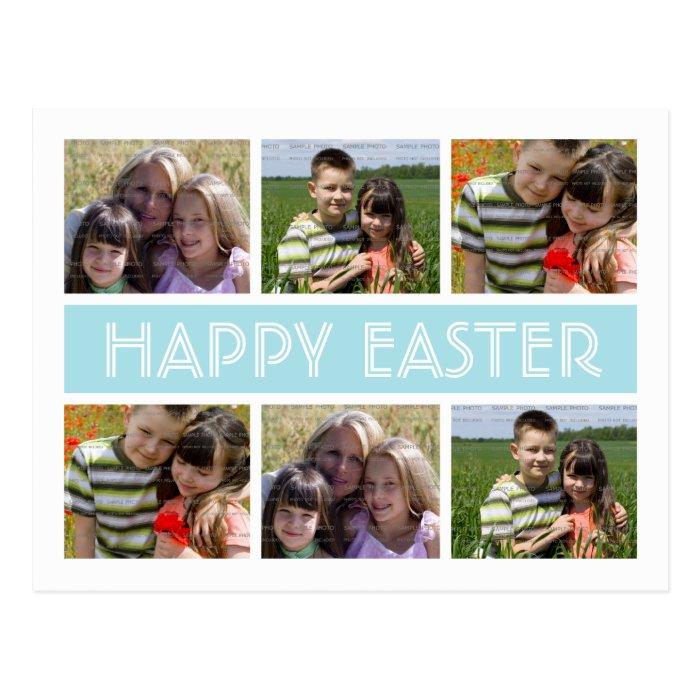easter photo collage postcard template blue zazzle. Black Bedroom Furniture Sets. Home Design Ideas