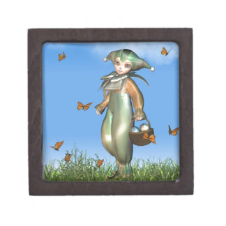 Easter Pierrot Clown Doll with Butterflies Gift Box