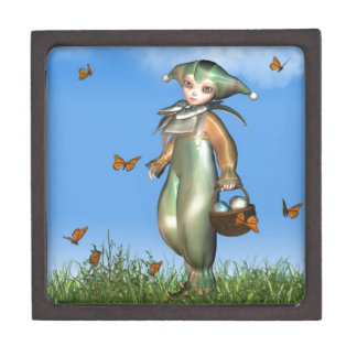 Easter Pierrot Clown Doll with Butterflies Jewelry Box