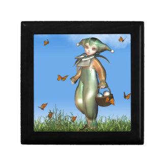 Easter Pierrot Clown Doll with Butterflies Keepsake Box
