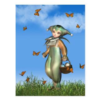 Easter Pierrot Clown Doll with Butterflies Postcard