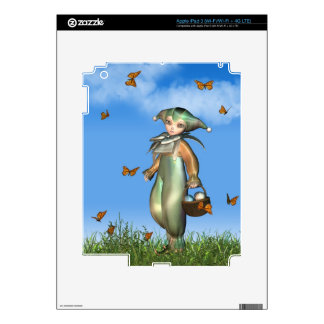 Easter Pierrot Clown Doll with Butterflies Skin For iPad 3