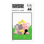Easter pig and chicks postage stamp