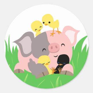 Easter piggy and chicks sticker