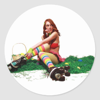 Easter Pin Up Classic Round Sticker
