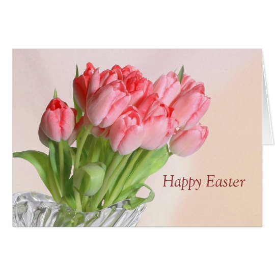 Easter pink Tulips Card