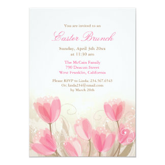 Easter Pink Tulips Flowers Flat Card