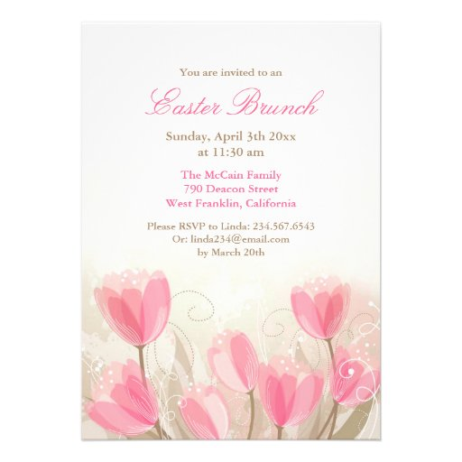 Easter Pink Tulips Flowers Flat Card Personalized Announcements