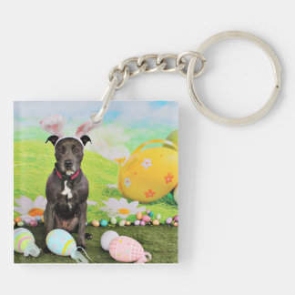 Easter - Pitbull  - Gunner Double-Sided Square Acrylic Keychain