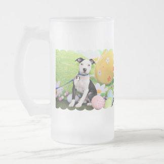 Easter - Pitbull  - Gunner 16 Oz Frosted Glass Beer Mug