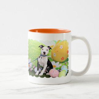 Easter - Pitbull  - Gunner Two-Tone Coffee Mug