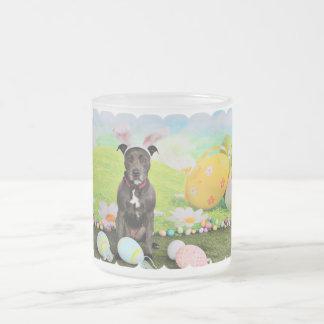 Easter - Pitbull  - Puddin Head 10 Oz Frosted Glass Coffee Mug