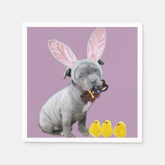 Easter Pitbull puppy dog Standard Cocktail Napkin